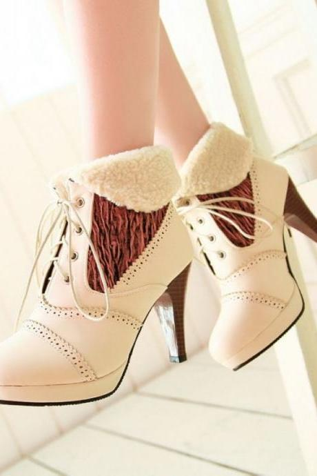 Cotton Collar Lace Heels Boots