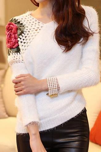 Pierced Rose irregular stretch knit sweater AX091902ax