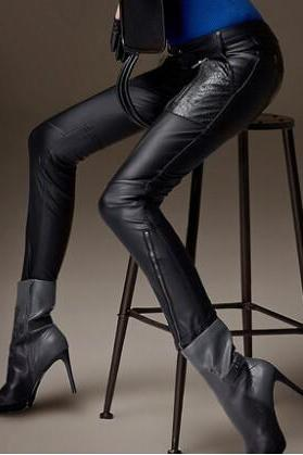 2014 the new black PU leather pants women qiu dong han edition tide show thin pants tight foot trousers