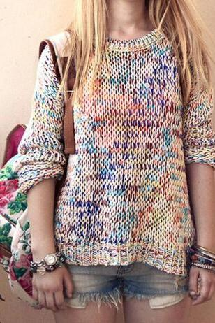 Rainbow loose knit sweater AX091903ax