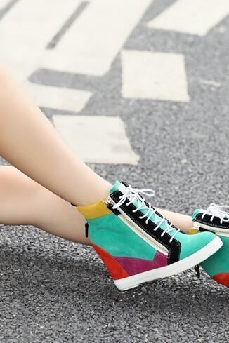 2014 genuine leather wedges color block decoration women's high-top shoes female fashion women's wedges casual Sneakers