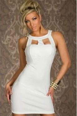 Sexy White Cut Out Sleeveless Sheath Dress