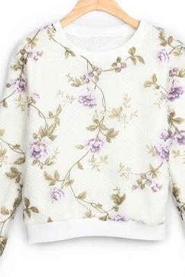 Blossom Flowers Sweater Crop Purple Top-One Size