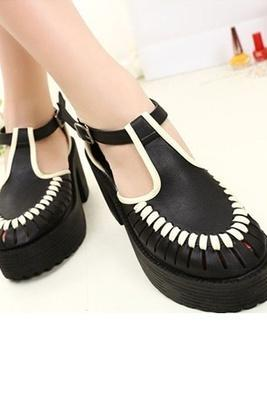 Cut Out T-bar Strap Bold Heels Black Creepers