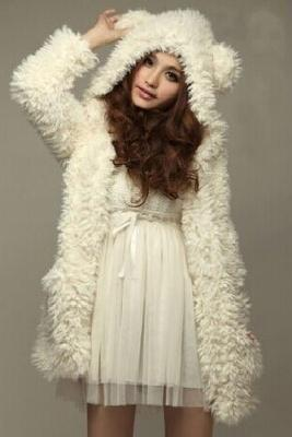 WINTER Teddy princess Bear Ears Soft Fur Fun beige Hoodie coat Top Jacket outwear For women