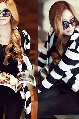 Trendy Long Sleeve Striped Womens Cardigan Style Hoodies Outwear Sweat Top 6962 (Size M; Color Black)