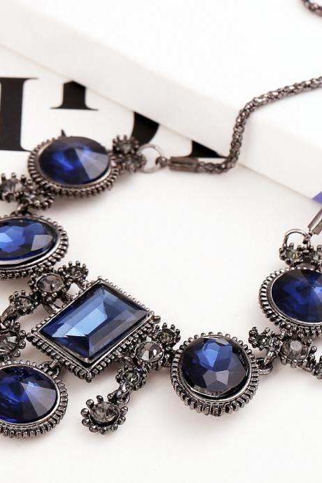 Cheap European Fashion Geometric Crystals Decorated Blue Metal Necklace