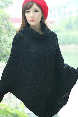 2014 New Fashion Korean version of the high collar bat sleeve fashion wild twist warm sweater coat blouse (Color Black)