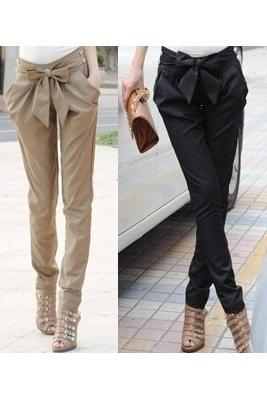 Hot Sale Sexy Women Fashion Skinny Long Trousers OL Casual Slim Bow Harem Pants Chic Suit WF