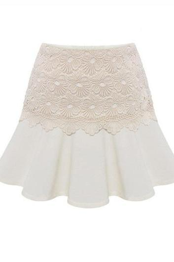 Fashion OL Style A Line Design Skirt for Summer - White