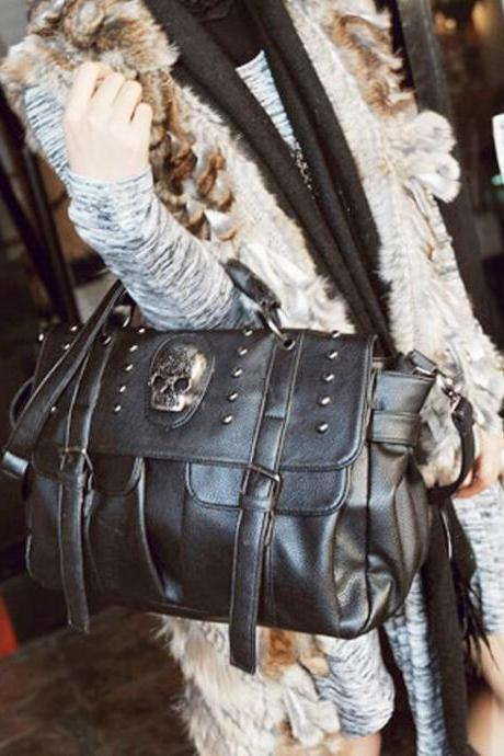 Cool Skull Leather Handbag Shoulder Bag