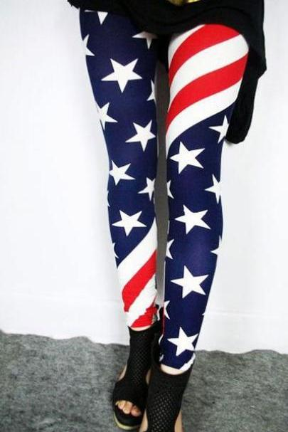 Vintage Sexy Stretch Tights Leggings With US American Flag