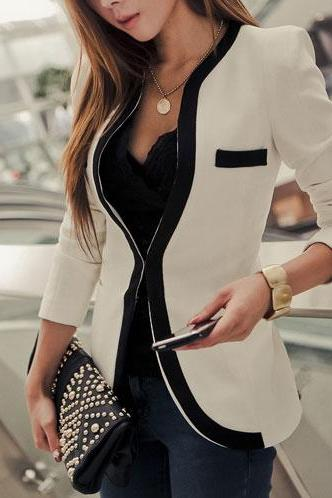 Fashion Contrast Color Slim Fit Business Suit Short Jacket Coat