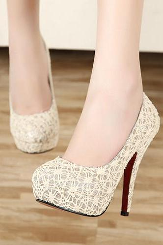 Free Shipping Sexy Gentlewomen Fashion Lace Thin High Heel Shoes For Lady