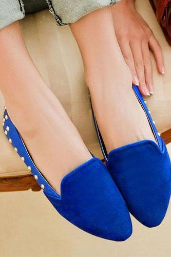Round Rivets Pointed Toe Slip On Loafer Flats