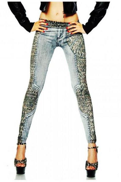 New Fashion Leopard Slim Fit Pencil Jeans Trousers Casual Women Ladies' Pants