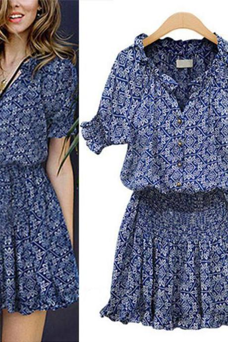 Sexy Womens BOHO Floral Summer Casual Short Sleeve Mini Dress Party dress Skirt