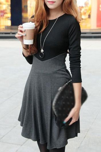 Causal Color Block Long Sleeve A Line Dress
