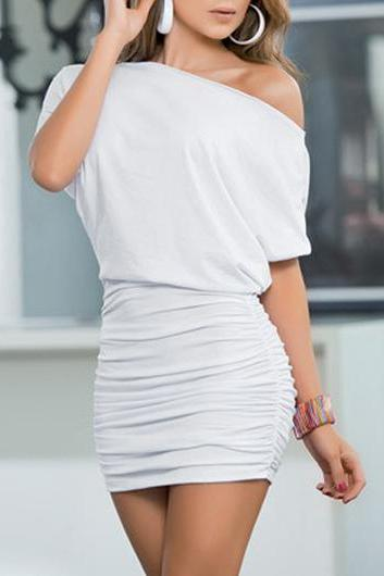 Sexy Short Sleeve off the Shoulder Mini Dress - White