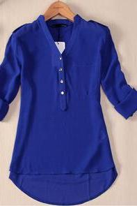 new women spring summer V-neck chiffon elegant all-match solid botton casual spirals shirt blouse