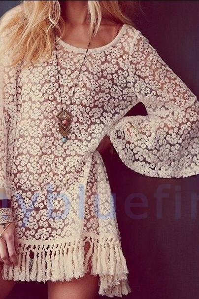 Fringed Piece Lace Dress