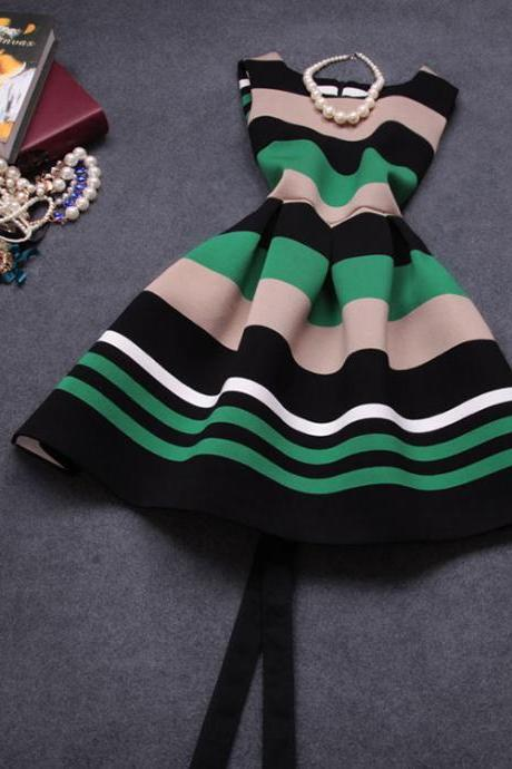 Fashion Striped Stitching Dress