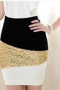 Black And White Mosaic Gold Sequined Skirt #092106HY
