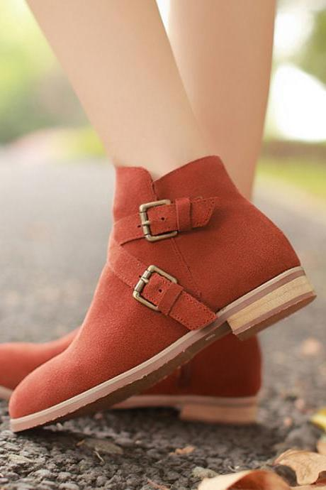 Fashion Brown Boots winter Boots For Women Buckle Boots