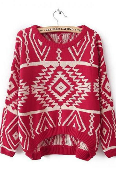 Red Aztec Sweater Knit Knitted Jumper Oversized Oversize Women Tribal Geometry Tribe Geometric Long Sleeve Print Loose Fit