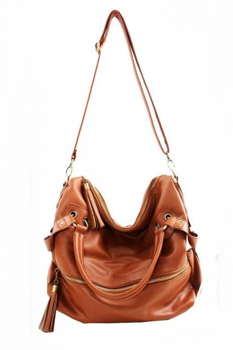 Nice Brown Tassel Leather Handbag