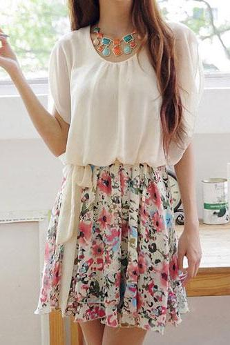 Bowknot Belted Ruched Butterfly Sleeve Crewneck Floral Skirt Skater Dress