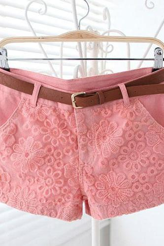 Candy Color Embroidery Lace Shorts Short Pants Trousers