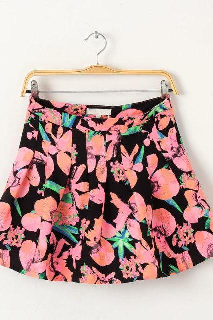 Short Pleated A-line Skirt with Floral Prints