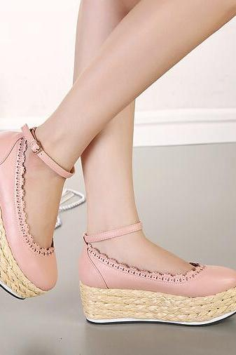Sweet Style Pink Platform Wedge Shoes