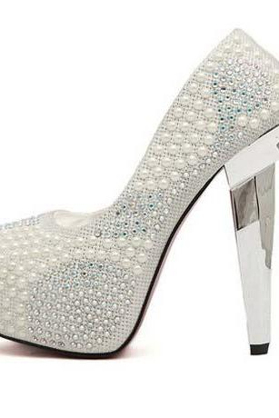 Silver Pearl Rivets High Heels Fashion Shoes