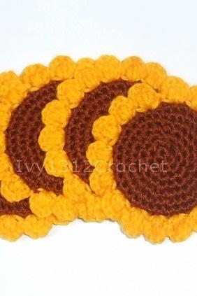 Sunflower Coasters (Set of 4) - Handmade Amigurumi Coasters