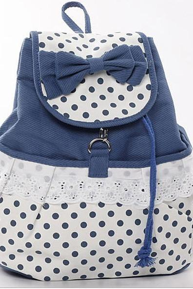 Cute Bowknot Lace Blue Backpack