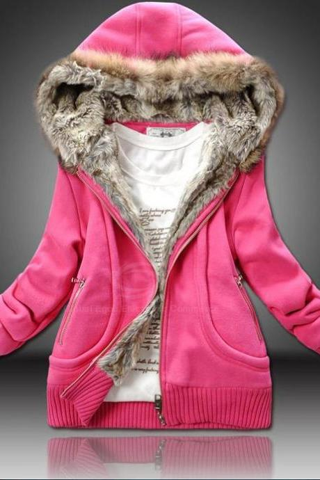 Sexy Artificial Wool Hooded Zipper Women's Cotton Coat