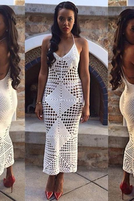 Cheap Sexy V Neck Spaghetti Strap Sleeveless Hollow-out White Knitting A Line Knee Length Dress