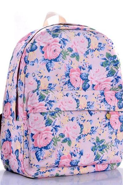 Floral Printed Purple Canvas Backpack