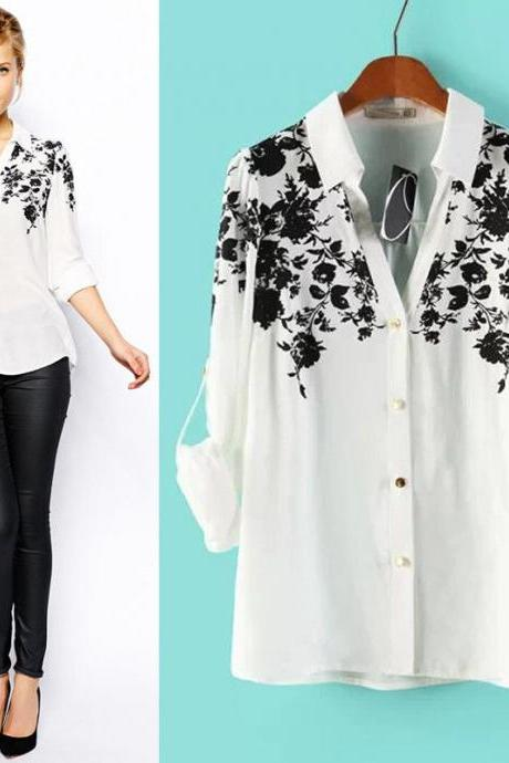 Hot Korean Fashion Women's Floral Chiffon Tops Long Sleeve Shirt Lapel Blouse