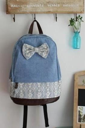 Denim Lace Backpack With Knot