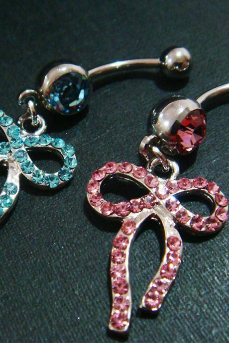 14g Bling Dangle Bow Crystal Gem Belly Button Navel Rings Bar Body Piercing Jewelry
