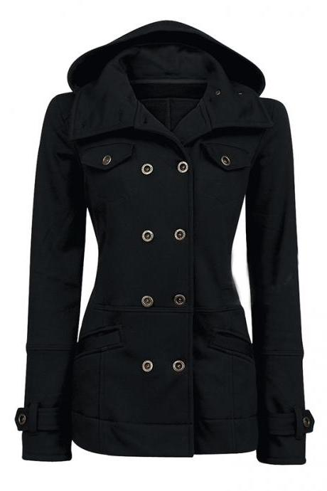 Casual Lady's Leisure Double Breasted Solid Color Cotton Slim Hoodie Coat Hooded Jacket Coat