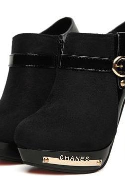 Stylish Buckle Design Ankle Boots Available In Black And Brown