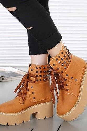 New Coming Cozy Short Boots Rivet Round Toe Ribbon Wedge Brown Casual Boots