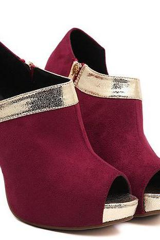 Wine Red Peep Toe High Heel Shoes