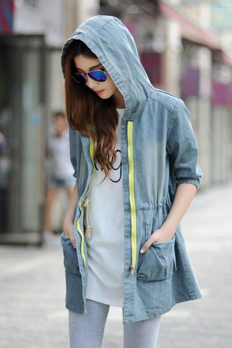 Wholesale Excellent Quality Denim Coat Durable Cozy Hooded Neck Zipper Three-quarter Sleeve Daily Street Wear Coat