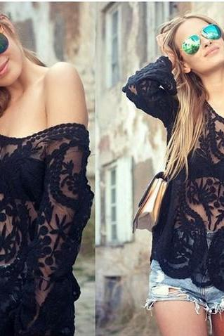 Black Lace Crochet Blouse Women's Tops Plus Size