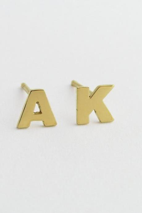 Initial Earrings - 14k Gold - Letters Studs - hand Cut - Solid Gold Jewelry - Custom Order